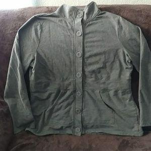 Button Front Lightweight Sweatshirt Jacket